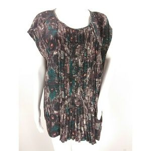 Talbots abstract pintuck short sleeve blouse 18w